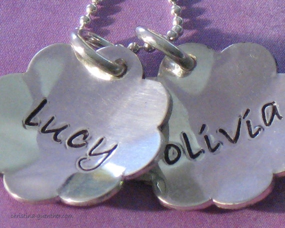 Two Flowers pendant - - - personalized hand stamped jewelry