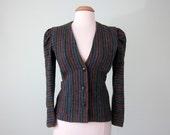 80s charcoal striped blazer (xs - s)