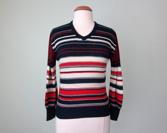 70s sweater / red blue striped knit (s - m)