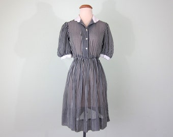 80s dress / black white striped sheer mini dress (xs - s)
