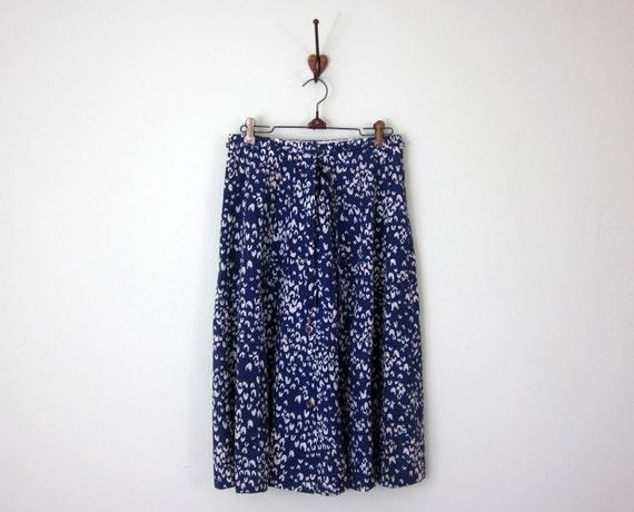 SALE 70s skirt / cotton drawstring print aline (s - m)