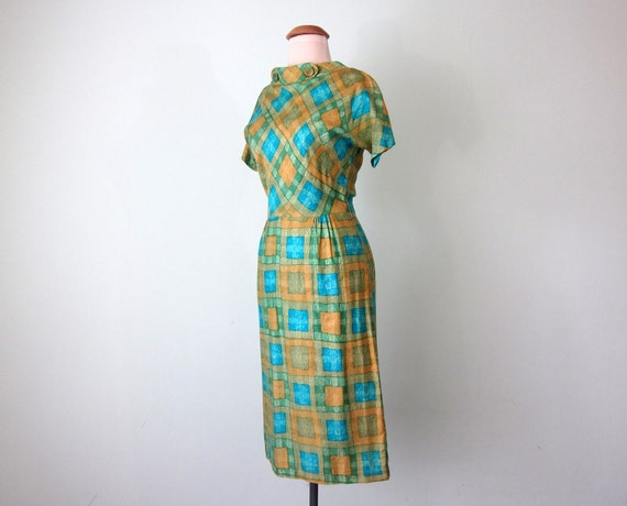 SALE 60s dress / mid century cotton print fitted (xs - s)