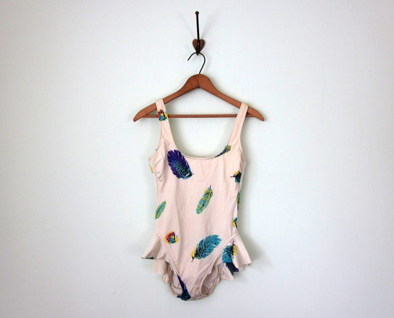 80s swimsuit / feather print one piece bathing suit maillot (s - m)