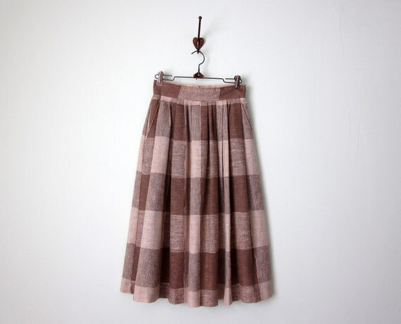 70s taupe plaid midi skirt (xs - s)