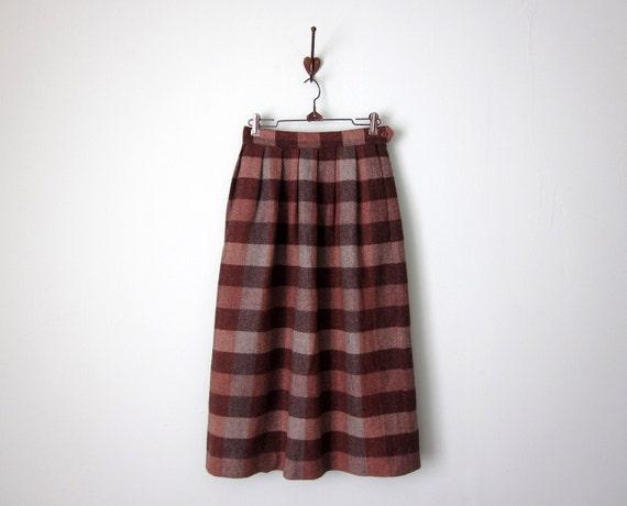 70s maple wool plaid skirt (xs - s)