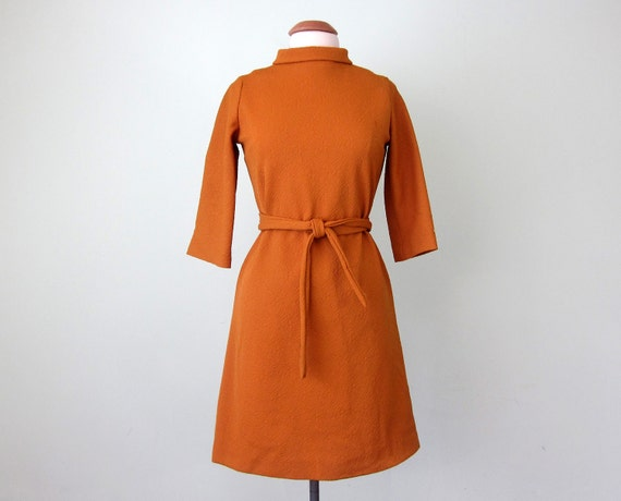 60s goldenrod belted dress (m - l)