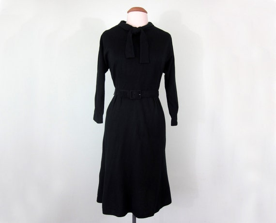 SALE 60s dress / noir wool jersey bow belted (m - l)