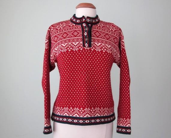 80s sweater / red folk wool knit (s - m)