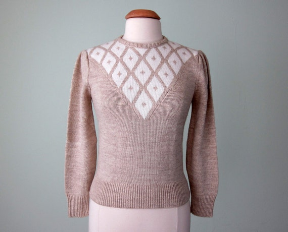 70s sweater / taupe diamond knit top (xs - s)