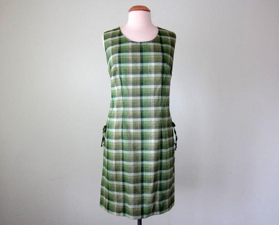 60s dress / green plaid shift sundress (l - xl)