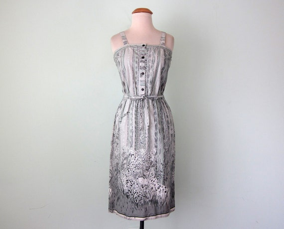 70s dress / cotton animal print sundress (xs - s)