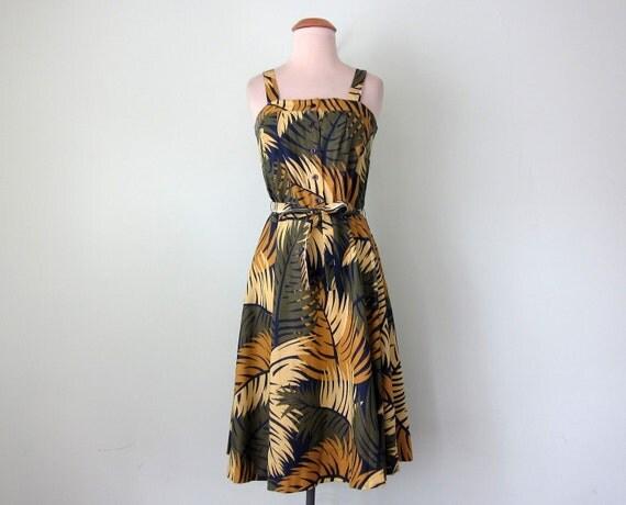 70s dress / palm print belted cotton sundress (xs - s)