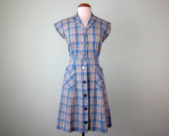 60s dress / blue plaid pockets spring sundress (s - m)