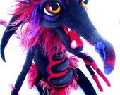 OOAK Labyrinth Inspired Black Fiery Goblin Needle Felted Wool Fiber Fantasy Soft Sculpture Plush Art Doll SOLD to Dee