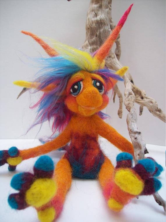 OOAK Custom Made Needle Felt Goblin Fantasy Fiber Wool Soft Sculpture Art Doll