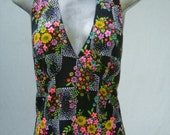 SALE 38.00  70s HALTER Sundress Daisies Dots with Jacket size Medium to Large