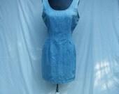 40% off Sale 80s Denim WIggle Dress size Medium Scoop Back