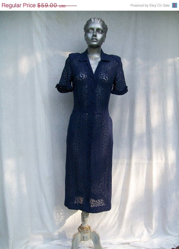 40% off Sale Sheer Navy Lace Day Dress 40s 50s Size Small HOPE REED