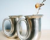 RESERVED Vintage Bugle Horn Pewter Mugs
