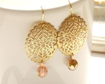 Gold filigree earrings, Dangle earrings, Gold and pink earrings, Beads earrings