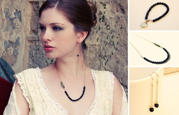 Romantic black crystals elegant set.Earrings,necklace and bracelet.