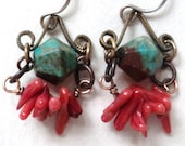 Earrings, Beach, Coral, Turquoise, Chandelier