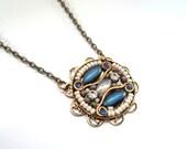Necklace, Mosaic, Medallion, Blue, Tribal, White