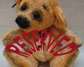 "Reserved 5"" Bebe artist teddy bear, vintage plush, fully jointed, glass eyes and his butterfly Barney"