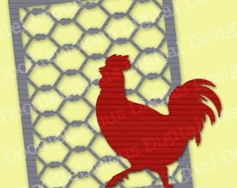 Chicken-Wire Cardfront and Rooster SVG Files