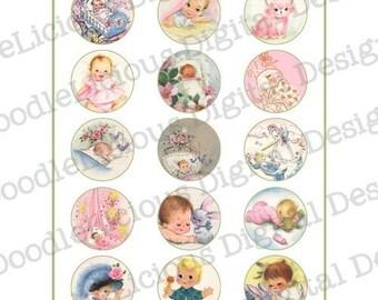 Printable Vintage Baby Tags- 2 Inch Circles - PDF Format