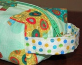 fun BOXY POUCH for pencils, school supplies, cosmetics, travel... Robert Kaufman Turtles