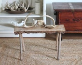 vintage small Wood Log bench footstool