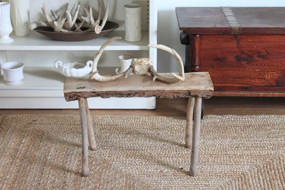 Vintage Small Wood Log Bench Footstool By Scottieinacanoe