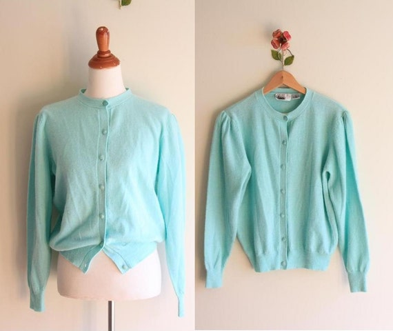 vintage PASTEL MINT sweater / soft Lambswool Cardigan