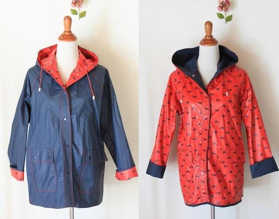 vintage Reversible whale print Rain Coat / red and navy blue rain slicker