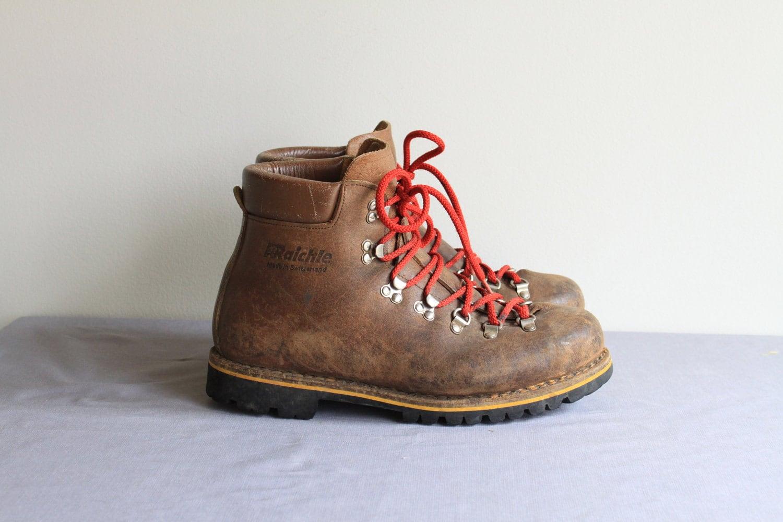 Vintage Swiss Alps Raichle Rugged Hiking Boots 10 5
