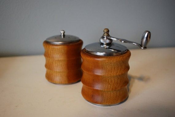Mid-Century Wooden Salt Shaker and Pepper Grinder