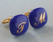 Custom initials monograms Cufflinks - Fused glass - Gold on cobalt - Gold plated hardware.