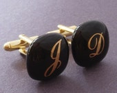 Custom initials monograms Cufflinks  - Gold on black - Gold plated hardware.
