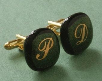 Custom Cufflinks - Gold initials on sparkly green glass