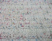 Red, Blue and Yellow Flecks on White Cotton Basket Stitch Baby Blanket
