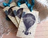 Vintage Hot Air Balloon Postcard Handemade Gift Tags by avintageobsession on etsy