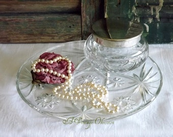Vintage Cut Glass Vanity Table Plate and Lidded Jar by avintageobsession on etsy