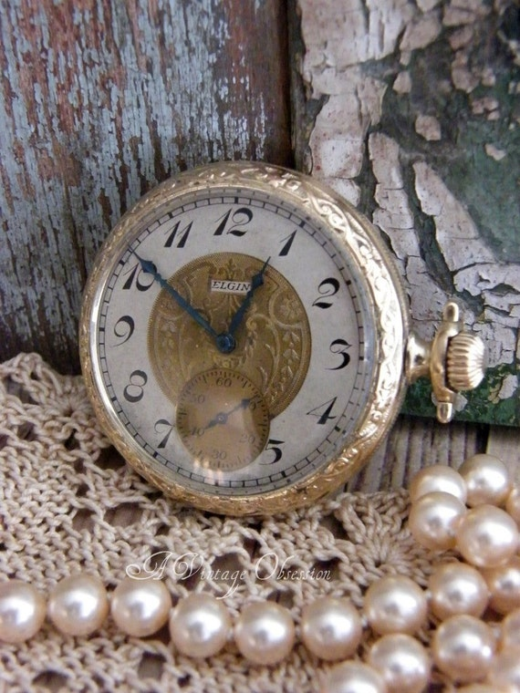 Antique Elgin Pocket Watch 1906 by avintageobsession on etsy