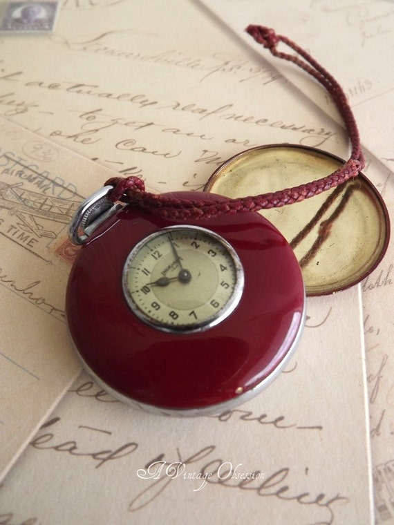 Antique 1920 Ingraham Red Pocket Watch by avintageobsession on etsy