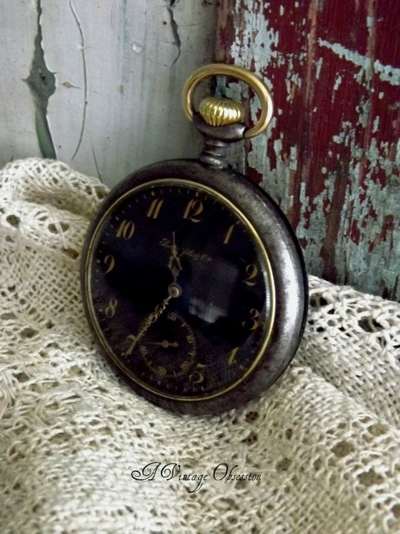 RESERVED LISTING for Jill Myers....Antique Borel & Cie Black Face Pocket Watch by avintageobsession on etsy