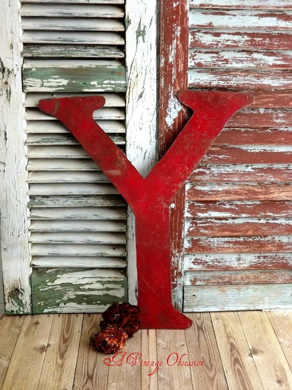 Initial Y Letter Y Vintage Metal Sign by avintageobsession on etsy