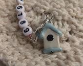 Knitting Row Counter (100-Row) Light Blue Birdhouse (med)