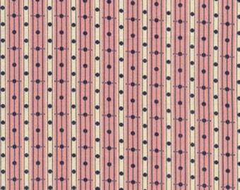 Library Stripe fabric, Denyse Schmidt fabric, cranberry pink fabric, stripes and polka dots, 1 fat quarter