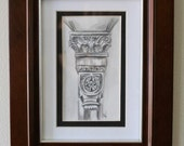 Architectural Drawing, Framed Pencil Art, Church in Boston Column Detail, Sketch